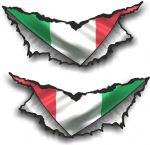 XLARGE Pair Triangular Ripped Torn Metal & Italy Italian Flag Motif Vinyl Car Sticker 300x140mm
